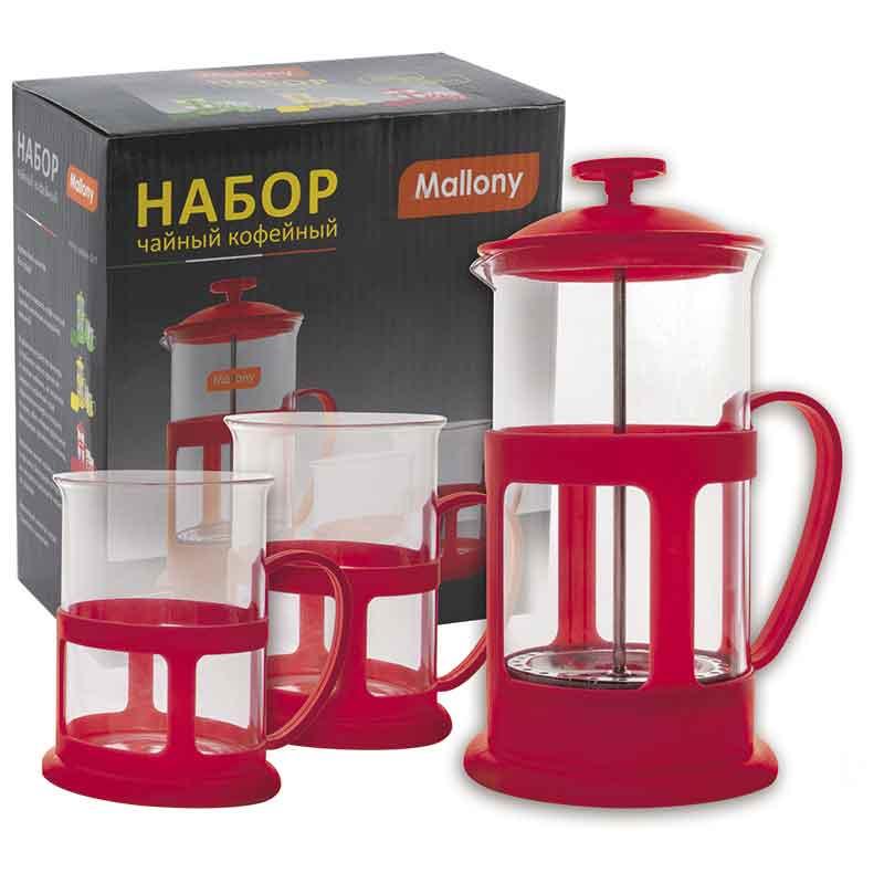 950083 Чайник/кофейник (кофе-пресс и две чашки)) Mallony PFP01-600ML-SET
