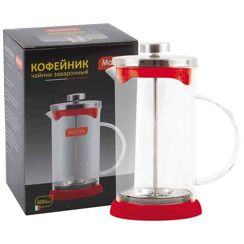 950070 Чайник/кофейник (кофе-пресс) Mallony GFP01-600ML-R