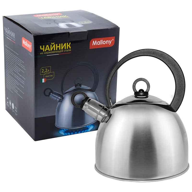 900056 Чайник металлический со свистком Mallony DJA-3026