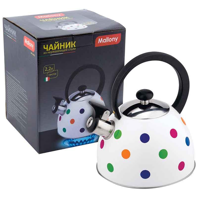 985607 Чайник металлический со свистком Mallony MAL-0403