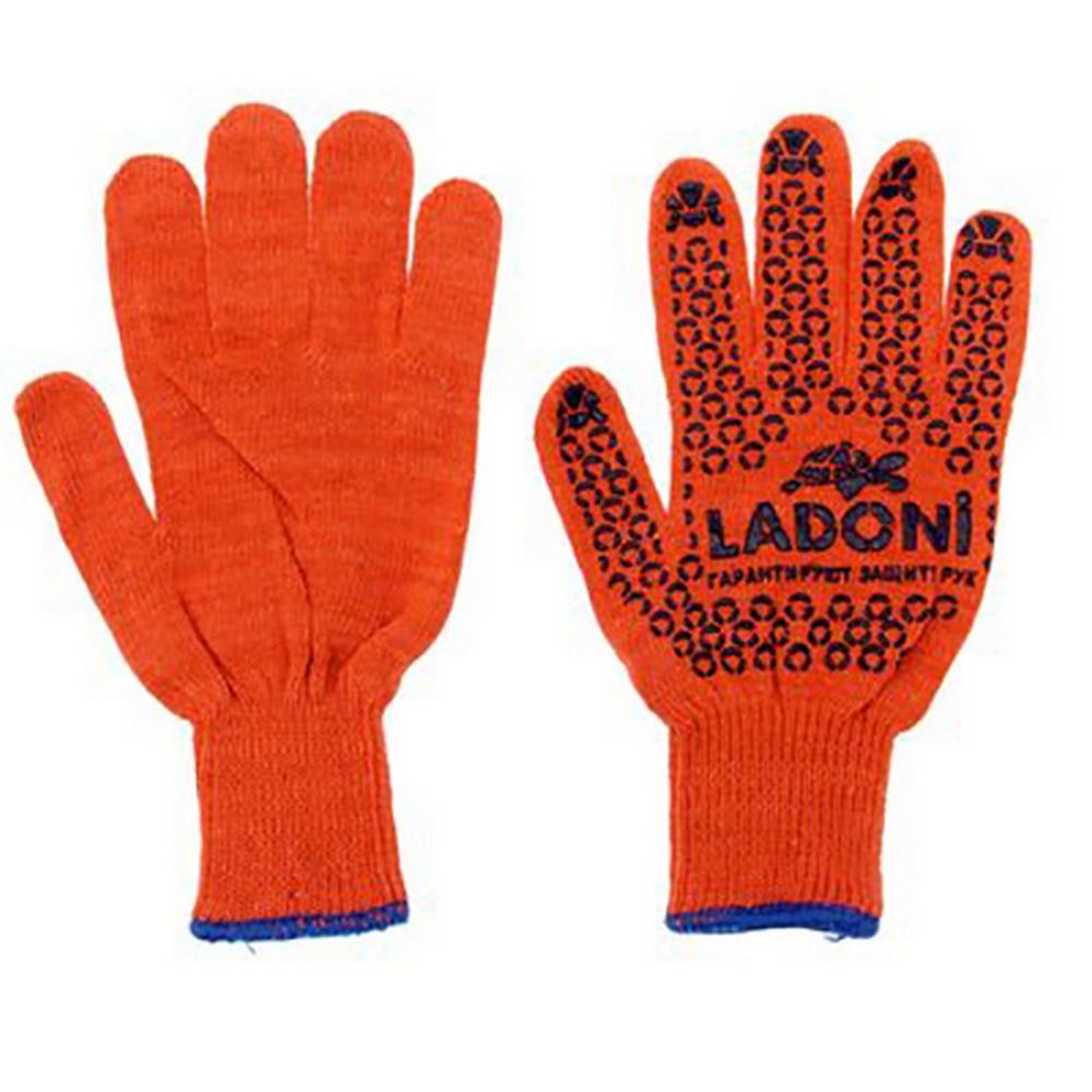 526 Р Перчатки Ladoni оранжевые с синим ПВХ 10 класс
