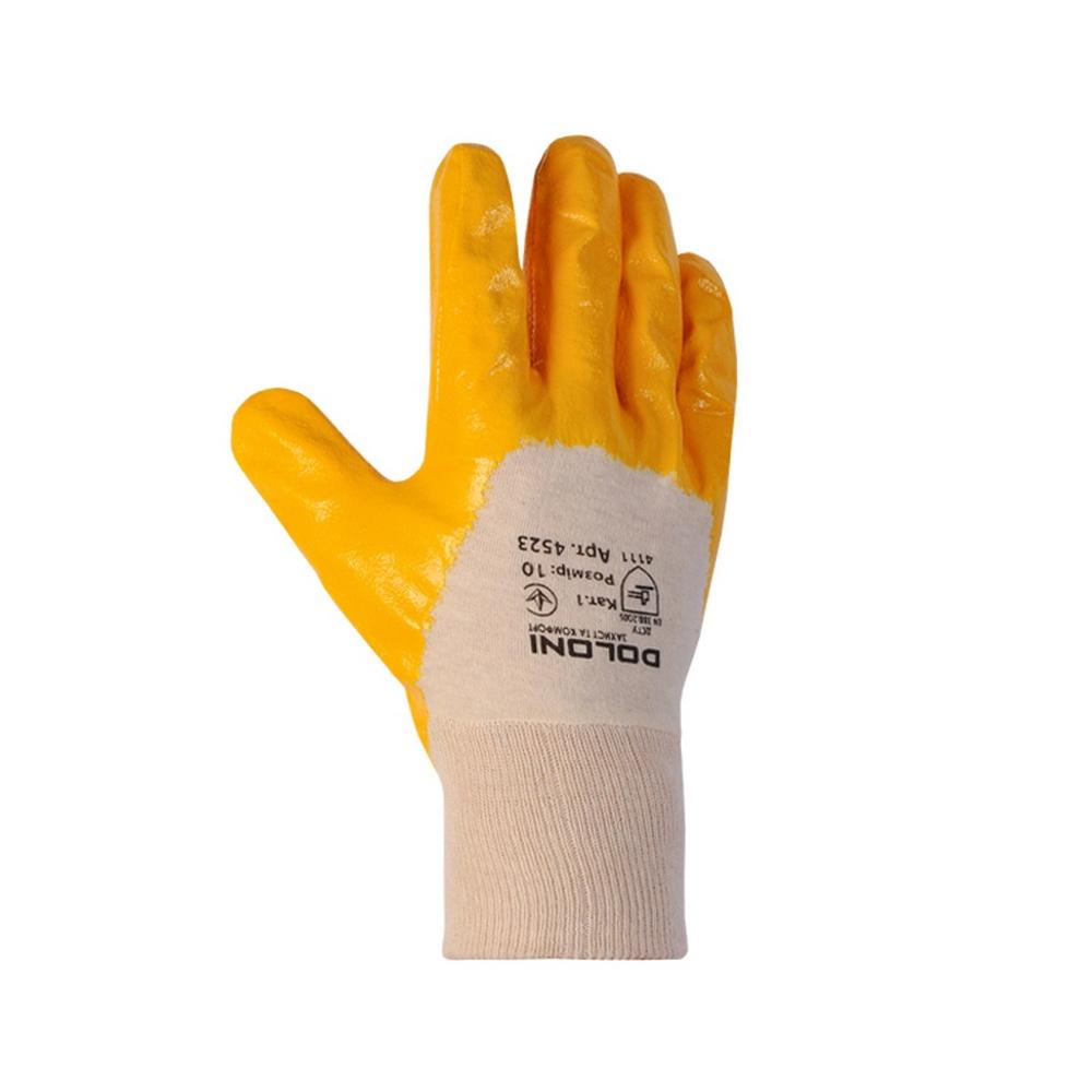 4523 Перчатки облив нитрил с открытой тыльной частью DOLONI