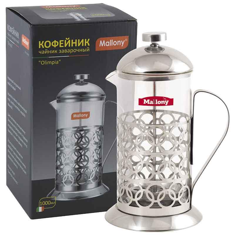 """950093 Чайник/кофейник (кофе-пресс) Mallony """"Олимпия"""" Т046-1000ML"""