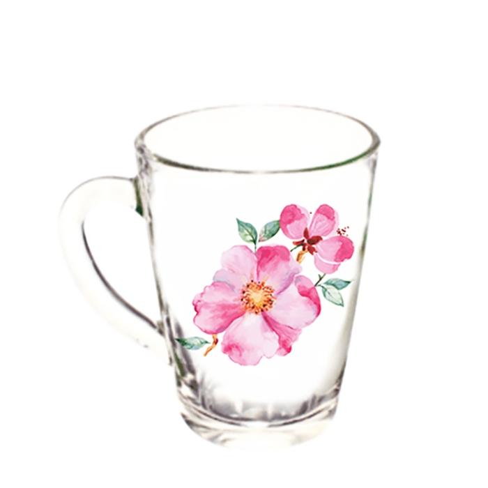 """Кружка """"Капучино"""" Акварельные цветы 300мл"""