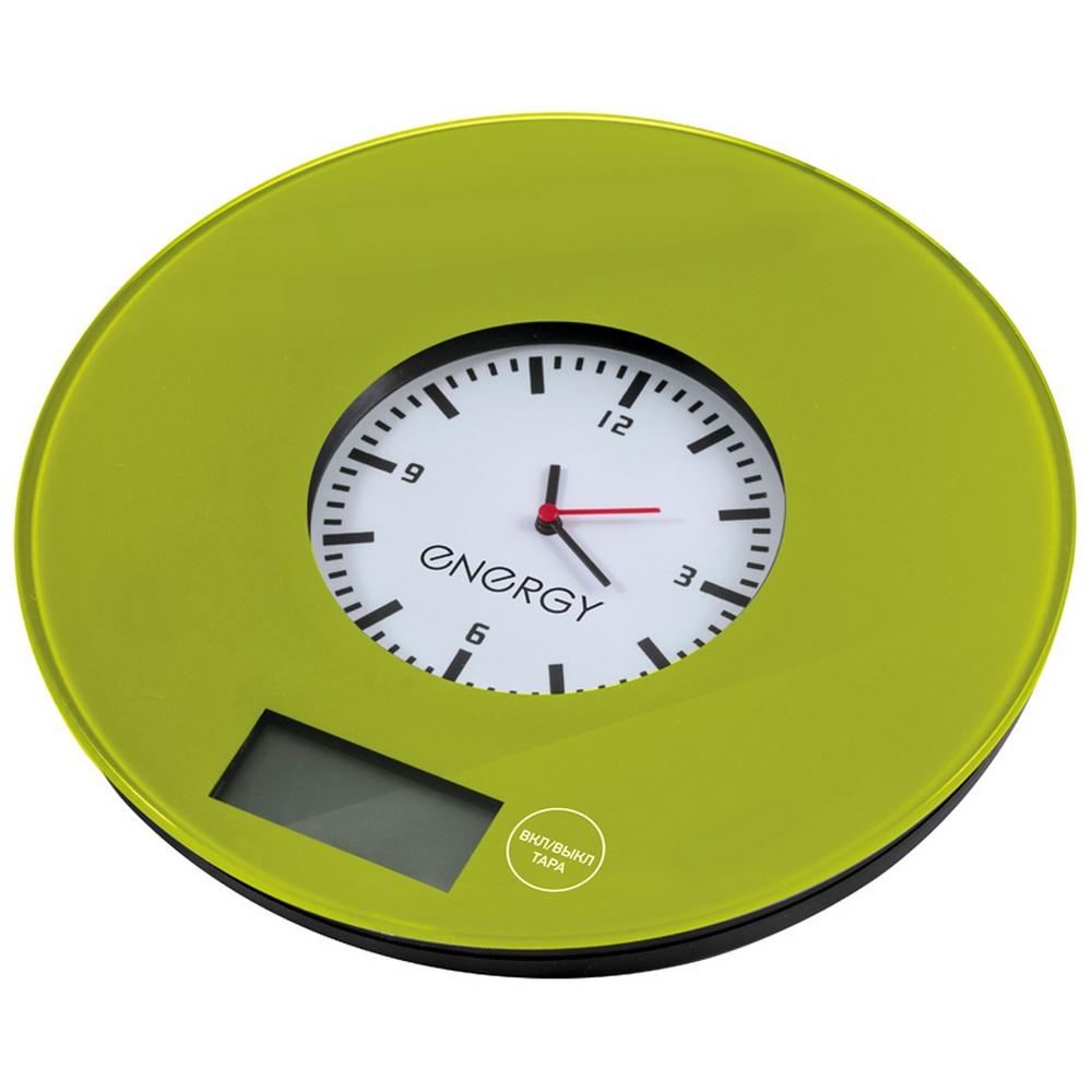 Весы кухонные электронные Energy EN-427 зеленые с часами