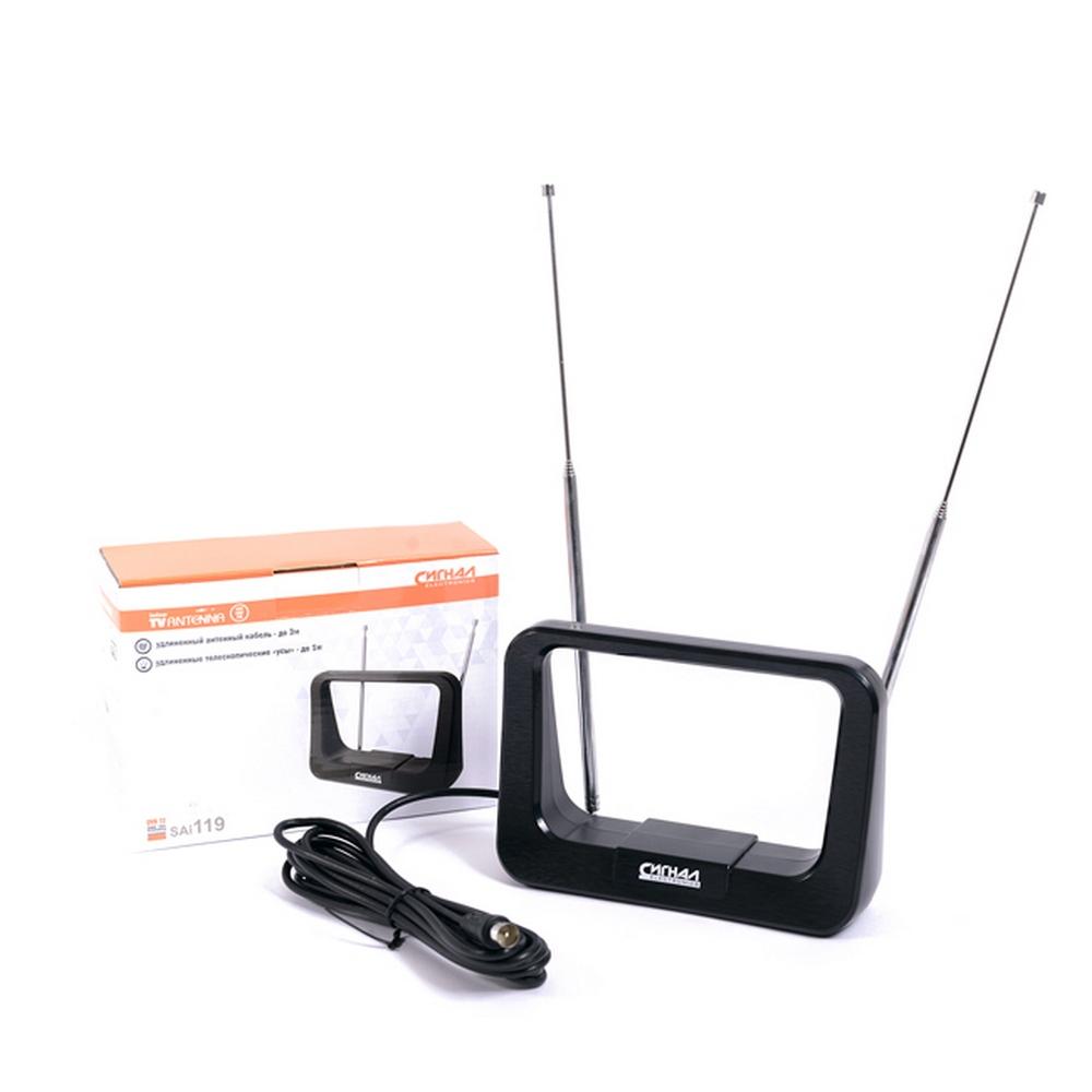 Антенна комнатная DVB-T2 и ДМВ+МВ активная Сигнал SAI 119