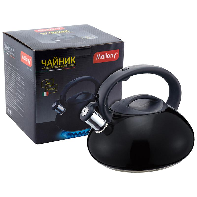 910095 Чайник металлический со свистком Mallony MAL-105-N
