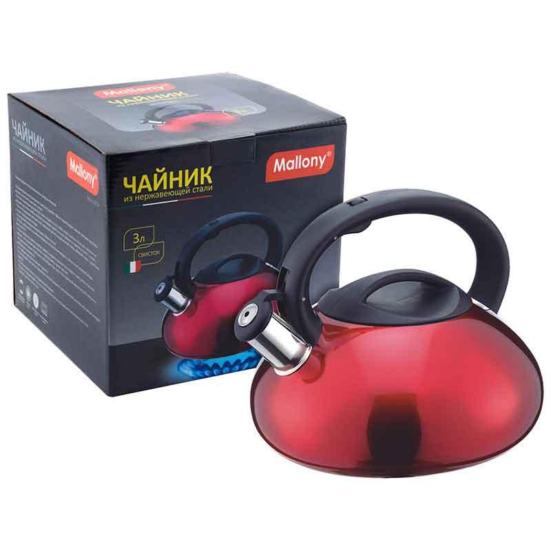 910093 Чайник металлический со свистком Mallony MAL-103-R
