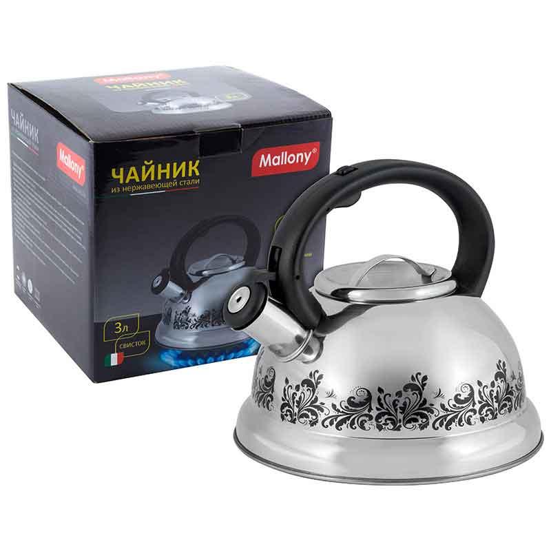 002102 Чайник металлический со свистком Mallony MAL-0417A