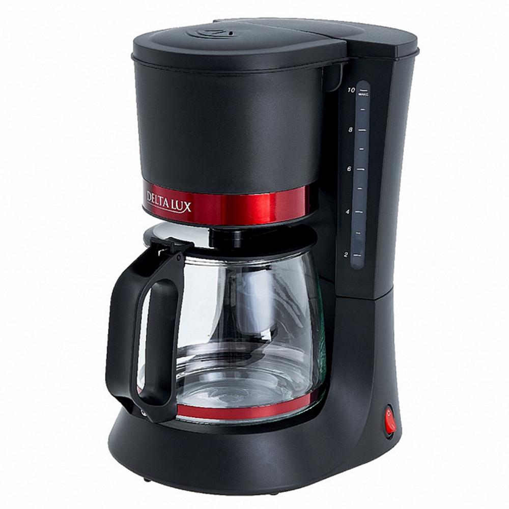 Кофеварка DELTA LUX DL-8152 черный с красным