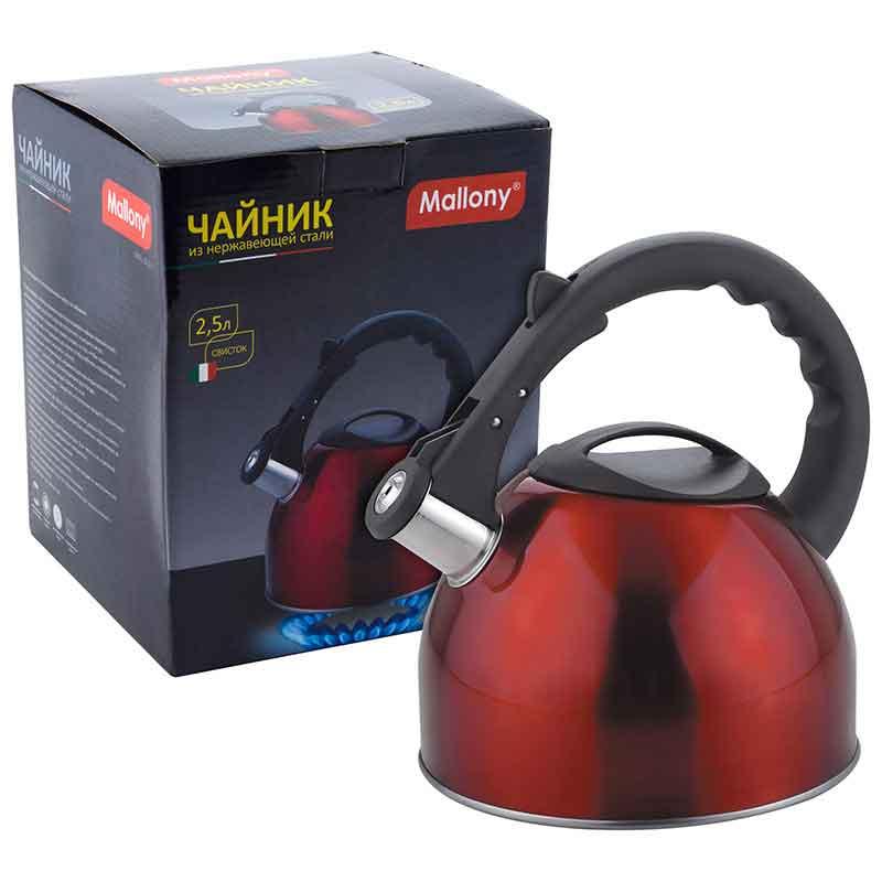 910090 Чайник металлический со свистком Mallony MAL-042-R