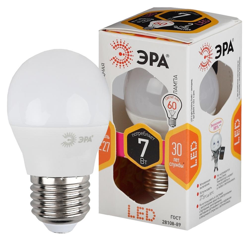 Лампа светодиодная ЭРА LED smd P45-7w-827-E27