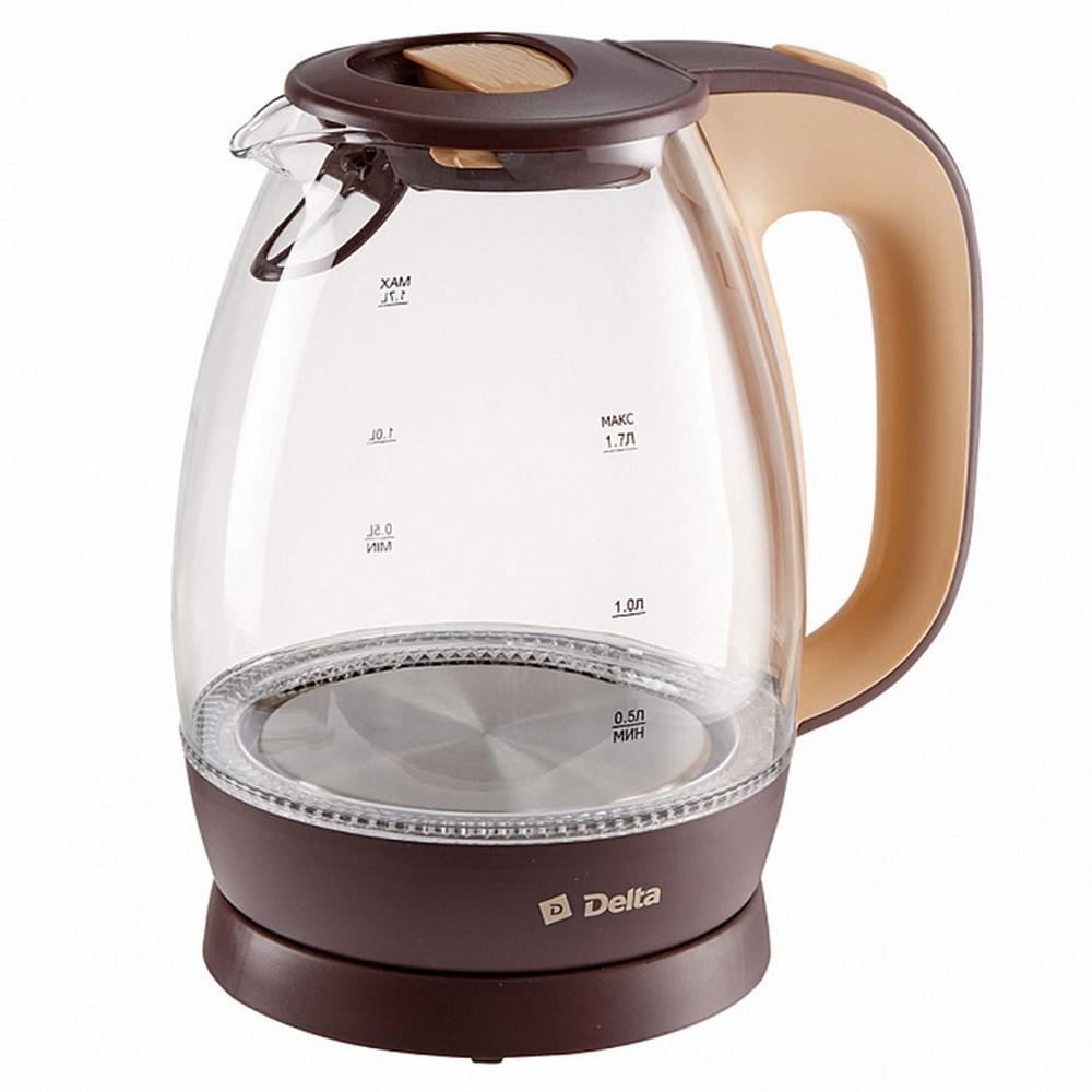 Чайник DELTA DL-1203 коричневый с бежевым