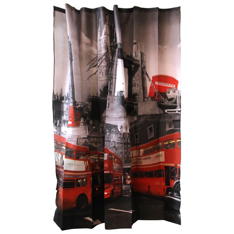 """000879 Занавеска для ванной Curtain-Bus """"Лондонский автобус """" """"Рыжий кот"""""""