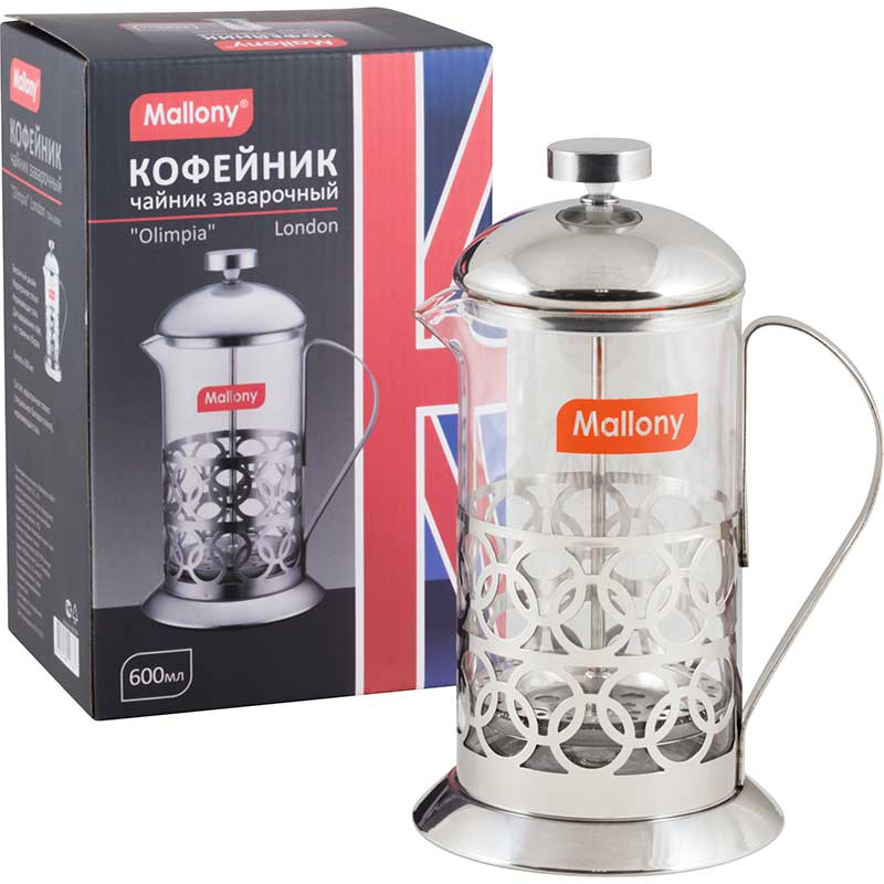 "003569 Чайник/кофейник (кофе-пресс) Mallony ""Олимпия"" серия London Т046-600ML"