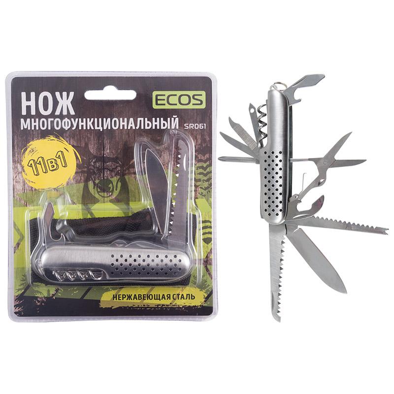 325111 Нож многофункциональный ECOS SR061, серебристый