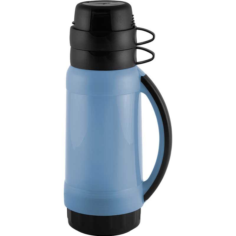 005504 Термос в пластик.корпусе со стекл.колбой PRATICO Mallony (1.0л, 2 чашки)