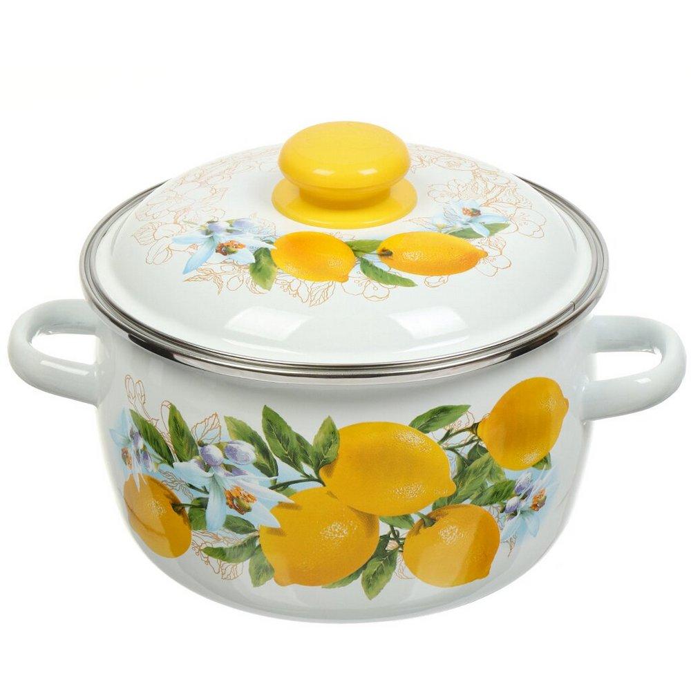 ЗМС181Р-Л Кастрюля (3.0л, сферическая) эмал., с ободком белая, декор Лимоны