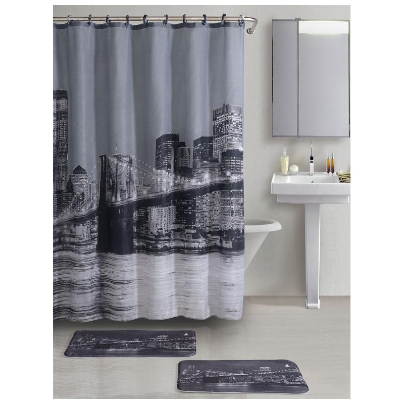 """000026 Набор из 3-х предметов для ванной комнаты SET3-BROOKLYN """"Рыжий кот"""" """"Бруклинский мост"""": 2 коврика+занавеска"""