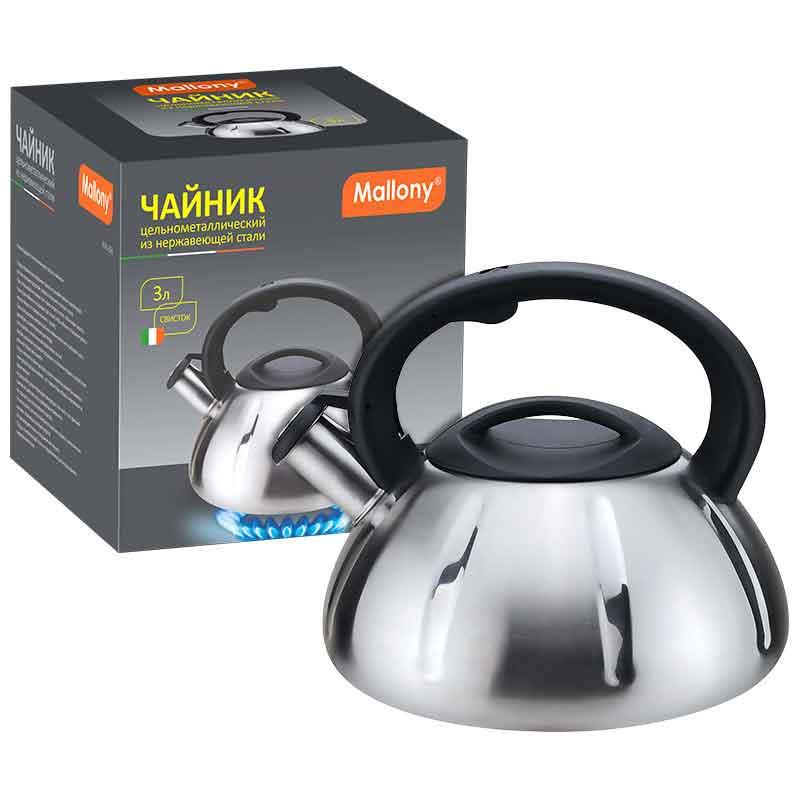 910086 Чайник металлический со свистком Mallony MAL-066