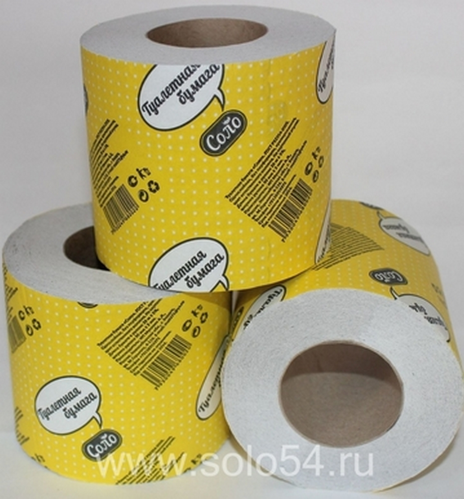 "Бумага туалетная ""Соло"", 1сл, 28м, на втулке"