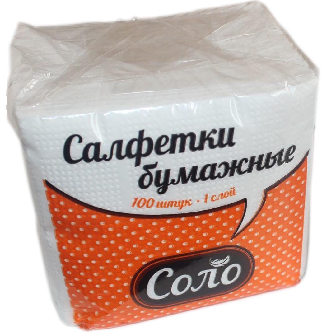"Салфетка бумажная ""Соло"", 1сл, белая, 100шт П/П цветная"