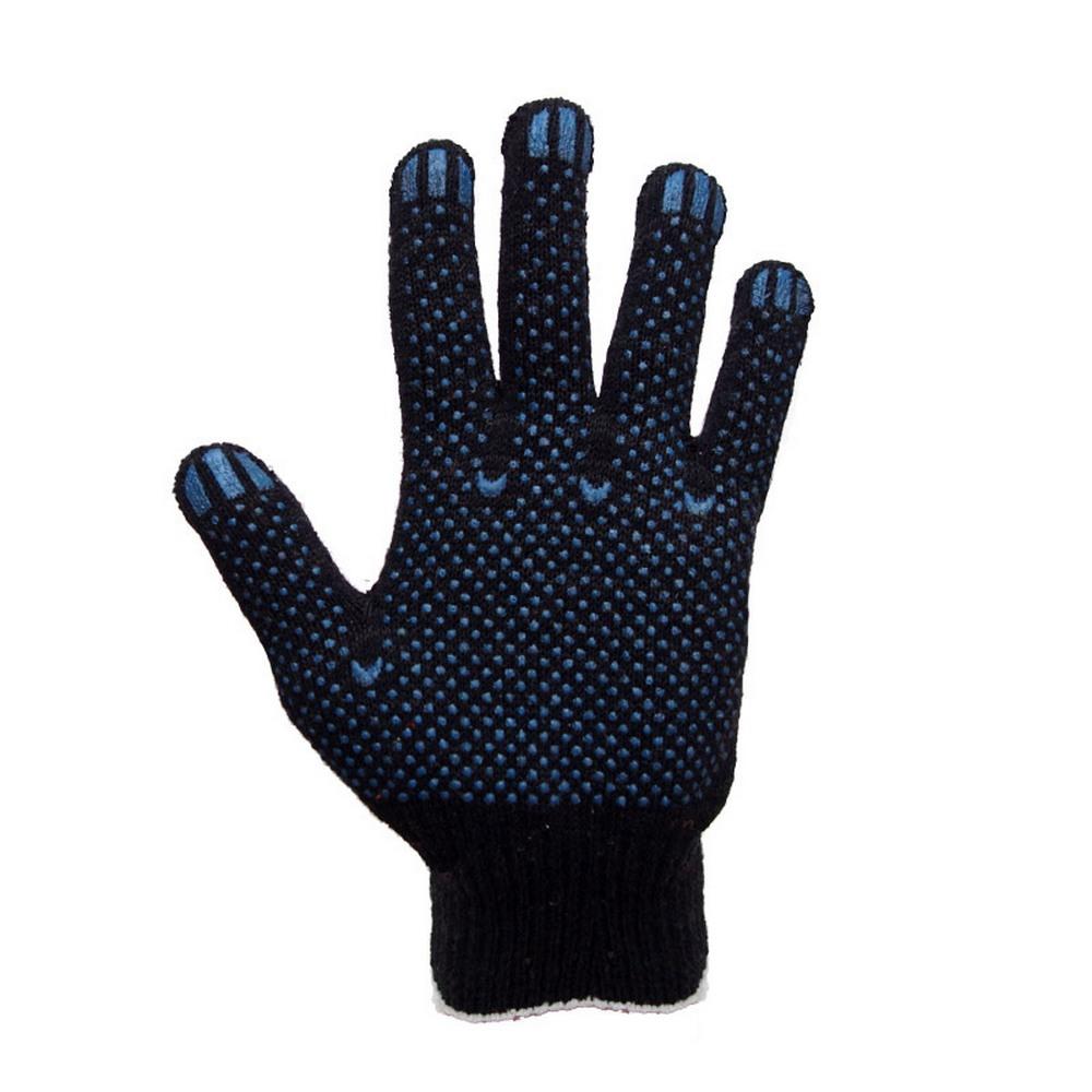 Набор перчаток JN-00393 х/б 4-х нитка 10 класс с ПВХ точка черные (10 пар)