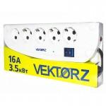 003630 Фильтр сетевой VEKTOR Z 5.0м, 4роз с/з+1роз б/з белый